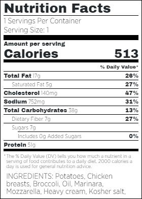 Chicken Marinara wFresh Mozzarella Nutritional Facts