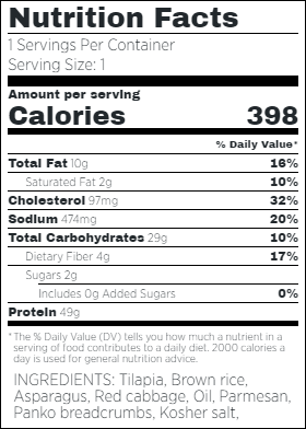 Parmesan Crusted Tilapia Nutritional Facts