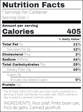 Vegan BBQ Jackfruit Burrito Bowl Nutritional Facts