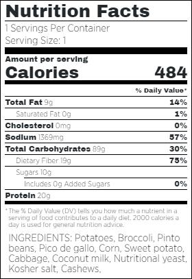 Vegan Potato Nachos Nutritional Facts