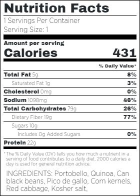 Vegan Stuffed Portobello Nutritional Facts